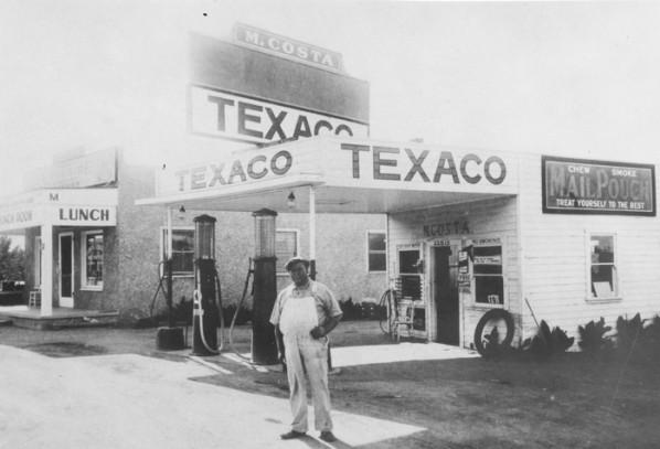 Bild på Texaco-station från 1930-talet