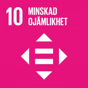 """en ikon med texten """"minskad ojämlikhet"""" som symboliserar nummer tio av FNs globala mål för hållbar utveckling"""
