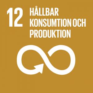 """en ikon med texten """"hållbar konsumtion och produktion"""" som symboliserar nummer tolv av FNs globala mål för hållbar utveckling"""
