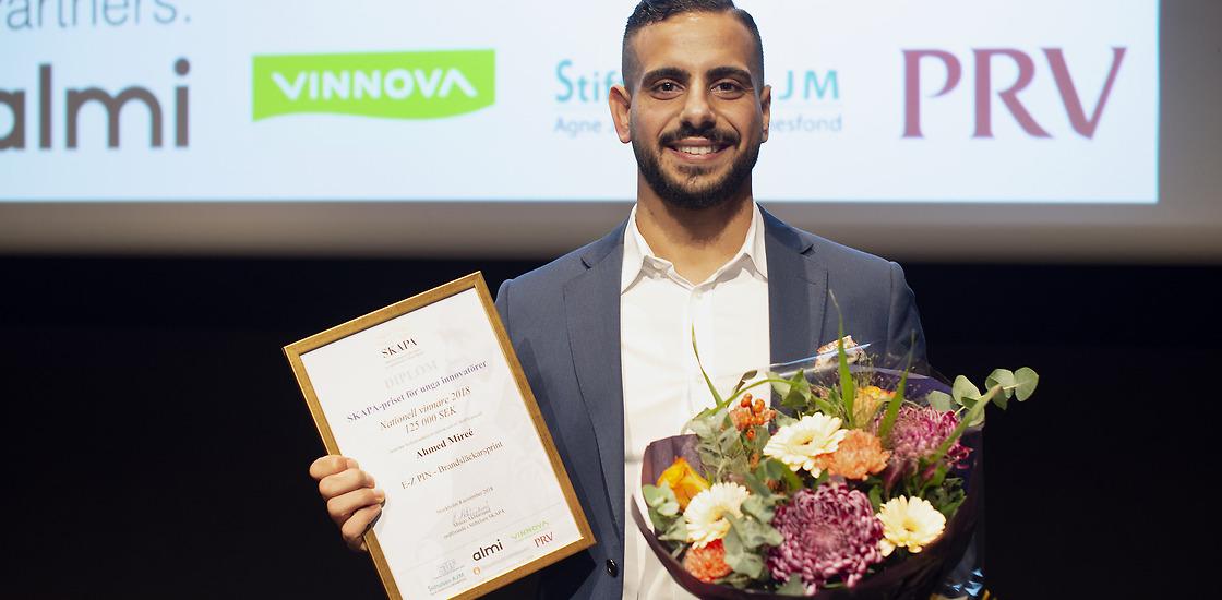 2018 utsågs Ahmed Mireé till Årets unga innovatör av stiftelsen Skapa och tilldelades 125 000 kr. Foto: Elise Florman