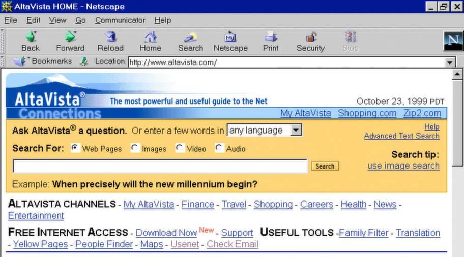 en skärmdump av sökmotorn altavista
