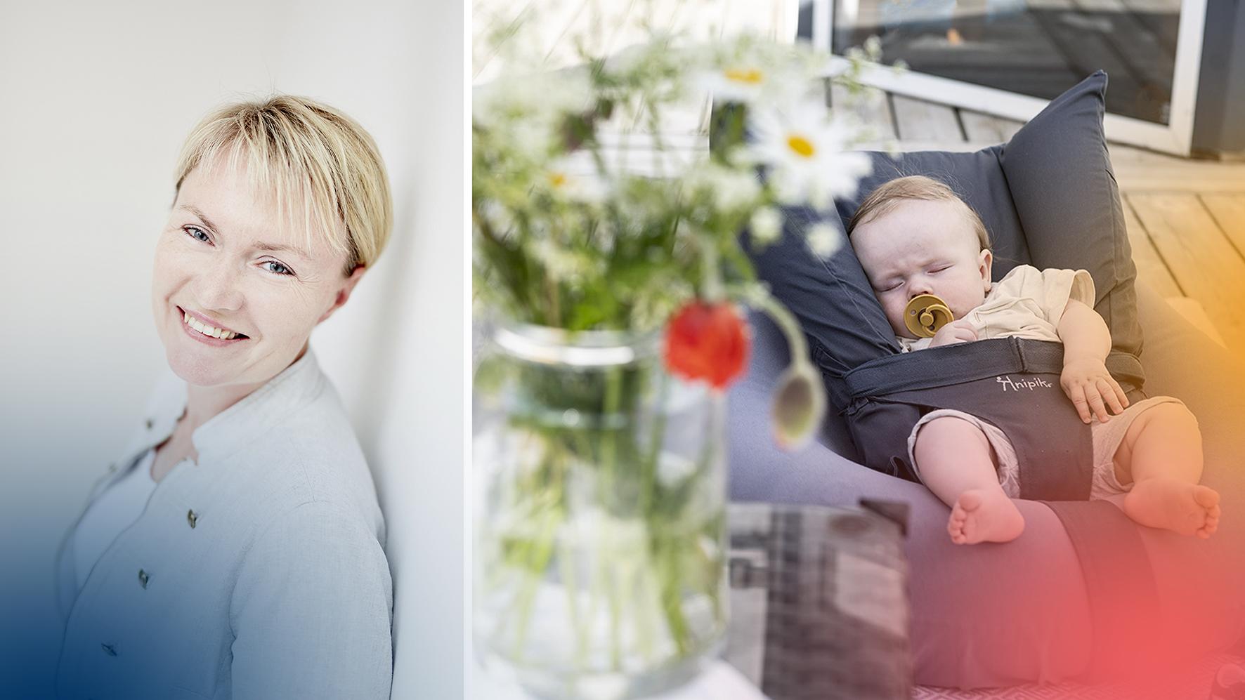 Siiri Julge Alvemyr och hennes babysitter Knipik