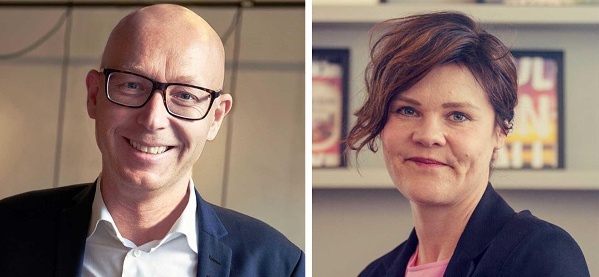 Ett kollage av porträttbilder på Per Wallentin och Hanna Aspklint på IT-konsultbolaget Knowit
