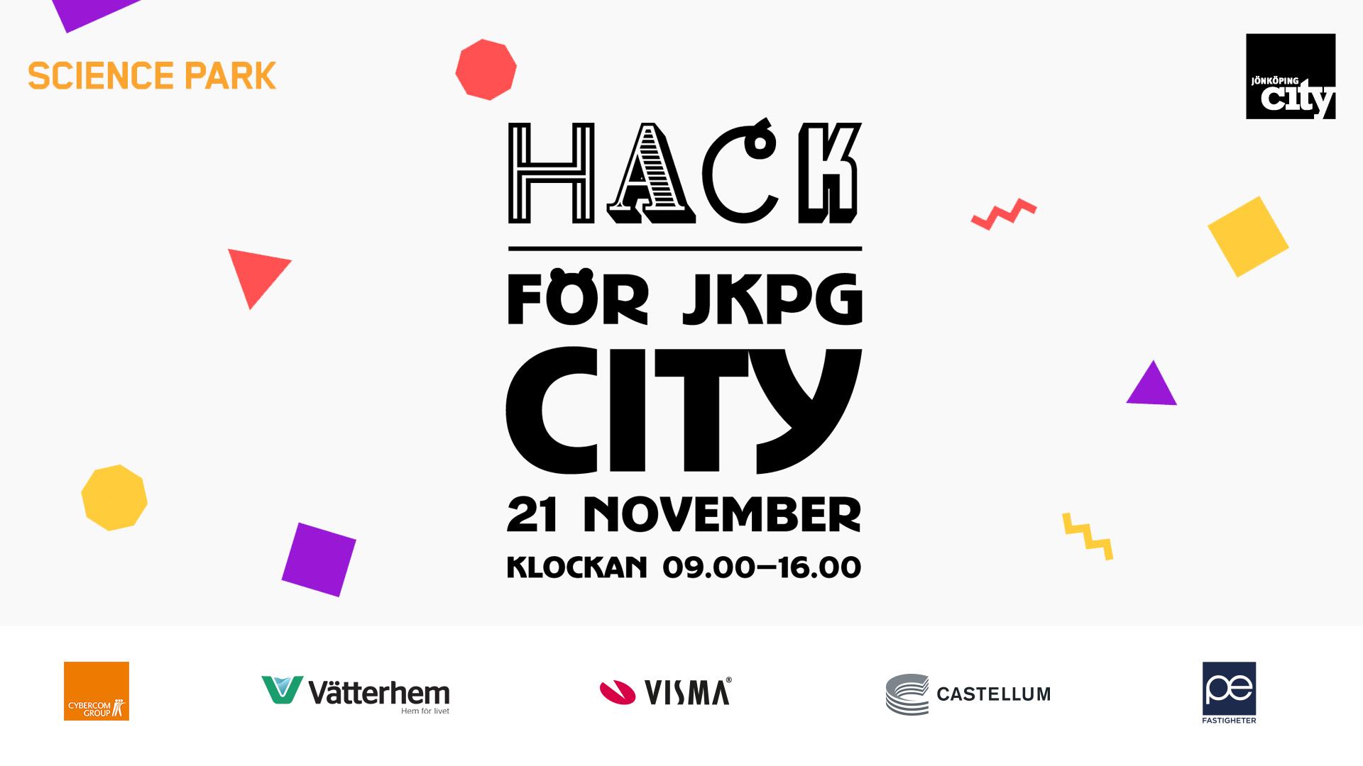 """grafisk bild med texten """"hack för jkpg city"""" 21 november klockan 09.00-16.00"""