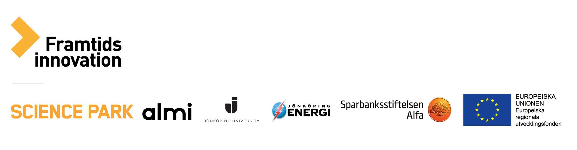 Loggor: Europeiska unionen, Science Park, Almi, Sparbankstiftelsen Alfa, Jönköping University