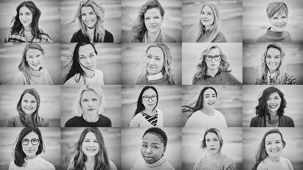 kollage av de nominerade till Årets Unga ledande kvinna 2020
