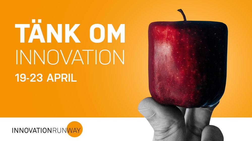 ett fyrkantigt äpple mot orange bakgrund med texten: Tänk om innovation 19-23 april