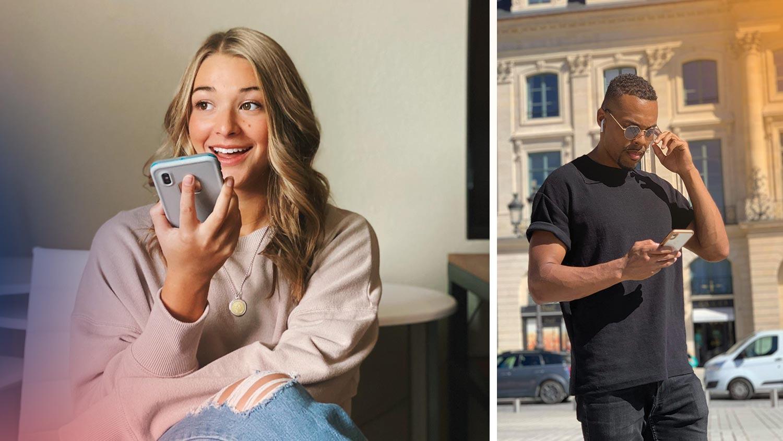 Separata bilder på en kvinna och en man som interagerar med en telefon