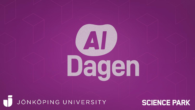 """grafisk bild med texten """"AI-dagen"""" samt Jönköping University och Science Parks logotyp"""