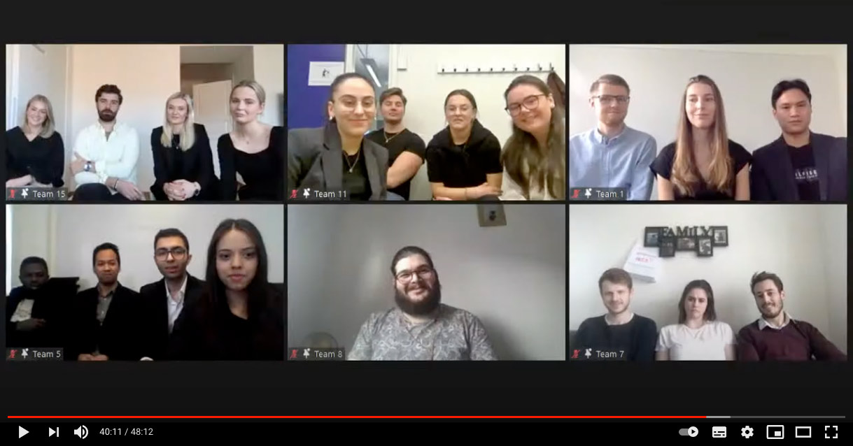 samtliga finalister i e-challenge 2021 i ett zoom-möte