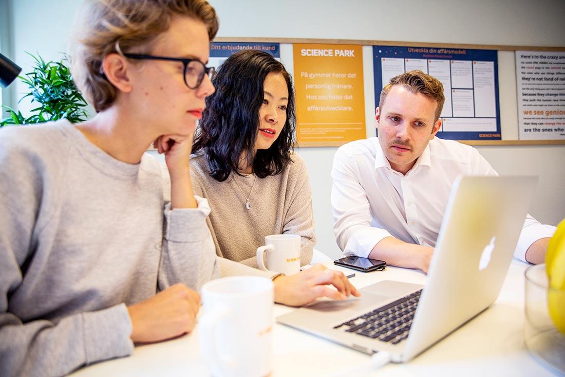 Två entreprenörer sitter i ett möte med en affärsutvecklare och tittar på en dator
